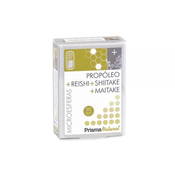 Propóleo + Reishi + Shitake + Maitake microesferas compuestas Prisma Natural