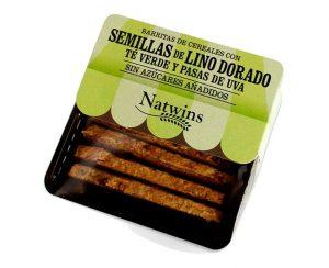Barrita Cereales Lino dorado, té verde y pasas Natwins